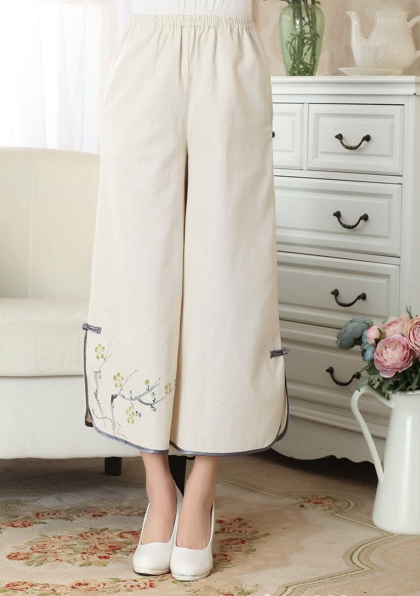Beige Chinese Womens Linen Cotton Elastic Waist Wide Leg Pants Long Trousers Casual Style tang Clothing Hot Sale P0012
