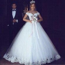 2020 לבן או שנהב תחרת אפליקציות כדור שמלת זול Vestido דה Novia כבוי כתף קצר שרוולי כלה שמלה