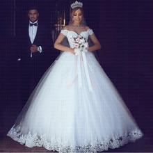 Vestido de noiva com apliques de renda, branco ou marfim, barato, de noiva, ombro fora, mangas curtas, 2020