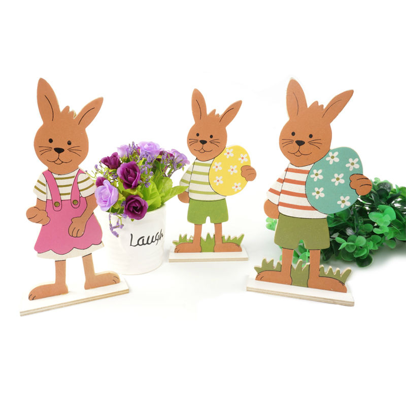 easter rabbit decoration 3types/set wood easter rabbit & egg easter gift for home decoration easter egg free shipping