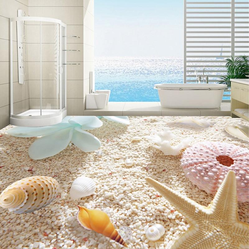 Custom 3D Photo Wallpaper Beach Starfish Conch Shell Floor Sticker Living Room Bathroom PVC Self-adhesive Mural Wallpaper Flower