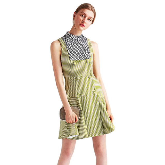 ac605581ff6 clearance sale mustard green plaid women dress stand collar sleeveless  buttons fit and flare mini dress free shipping