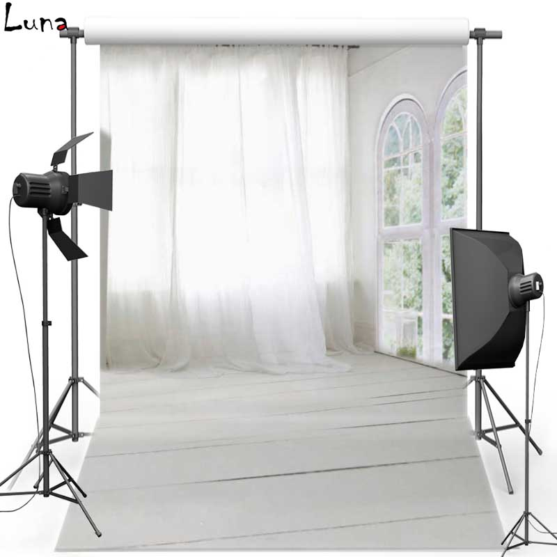 White Curtain Vinyl Photography Background Backdrop Indoor Wood Floor  New Fabric Flannel Background For photo studio 1504 10ft 20ft romantic wedding backdrop f 894 fabric background idea wood floor digital photography backdrop for picture taking
