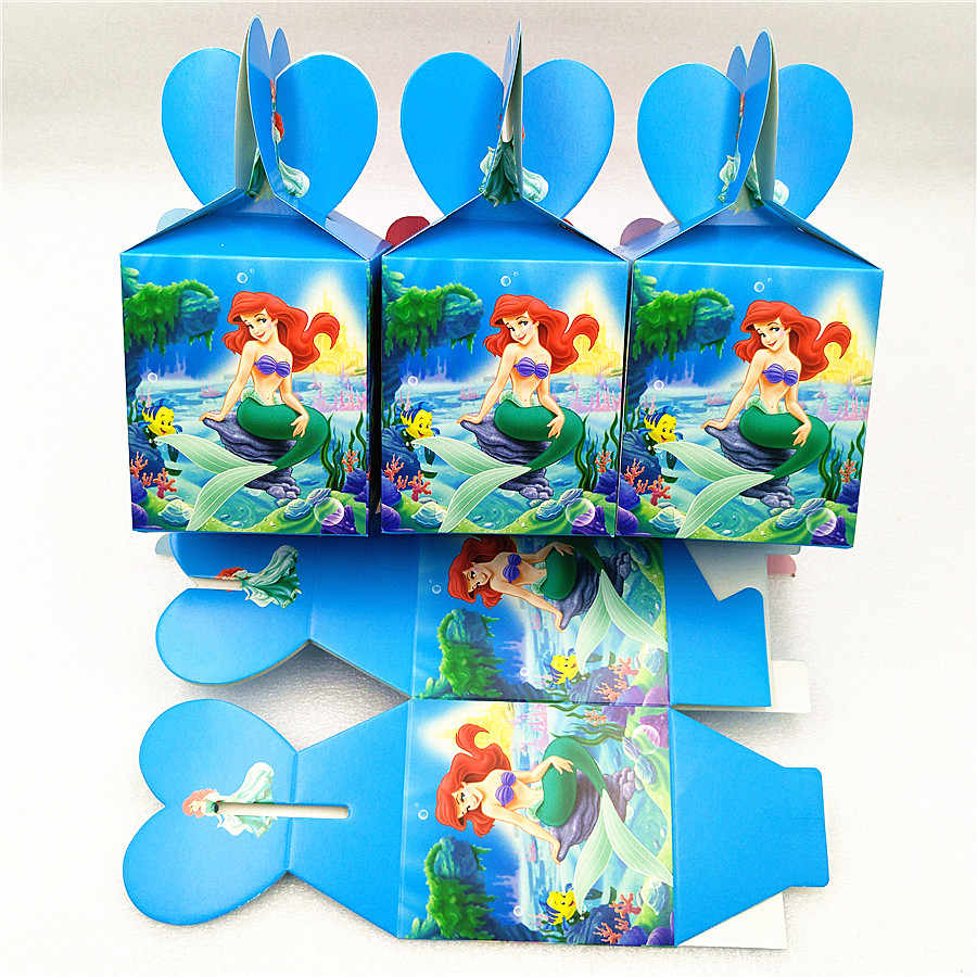 6pcs Little Mermaid Candy Box Party Suppliers Gift Box For Kids Girl Birthday Party Decoration Baby Shower Mermaid Party Favors
