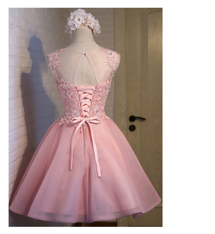 Short Evening Dress 2018 Sweet Pink O-neck Lace Ball Gown New Bride Party Formal Dress Custom Homecoming Dresses Robe De SoireeC 12