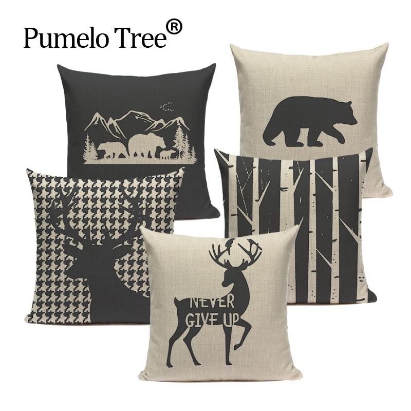 Nordic Home Decorative Cushion Covers Original Bear Deer Cushions Custom High Quality Decor 45Cmx45Cm Square Printed Pillow Case