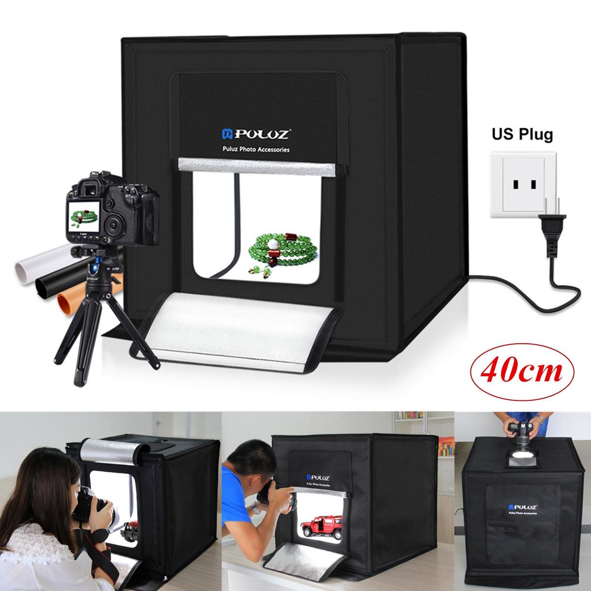 Nouveau 40 cm Mini Pliable Studio Boîte à Lumière Portable Photographie Box Photo 30 w 64 Led Kit Tente Cube Avec blanc Fond Noir