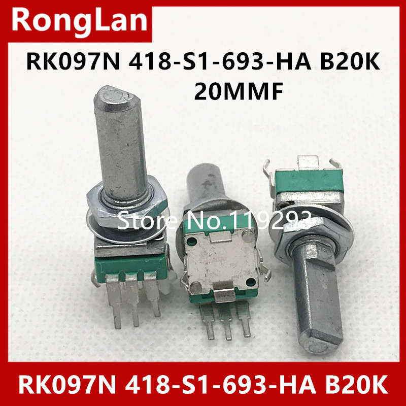 Single-Joint Vertical Potentiometer B20k-Handle RK097N Long-20mmf with Midpoint--10pcs/Lot
