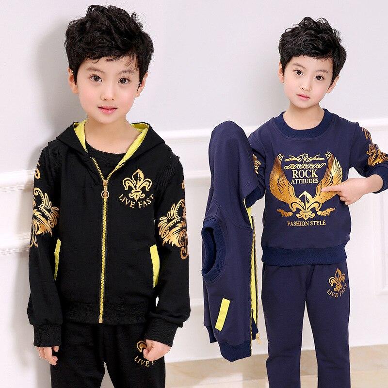 2018 New Wear Baby Boys Clothes Sets Boy Sports Vest + Sweatshirt + Pants 3pcs Suit Sets Children Eagle Pattern Tops Tracksuits