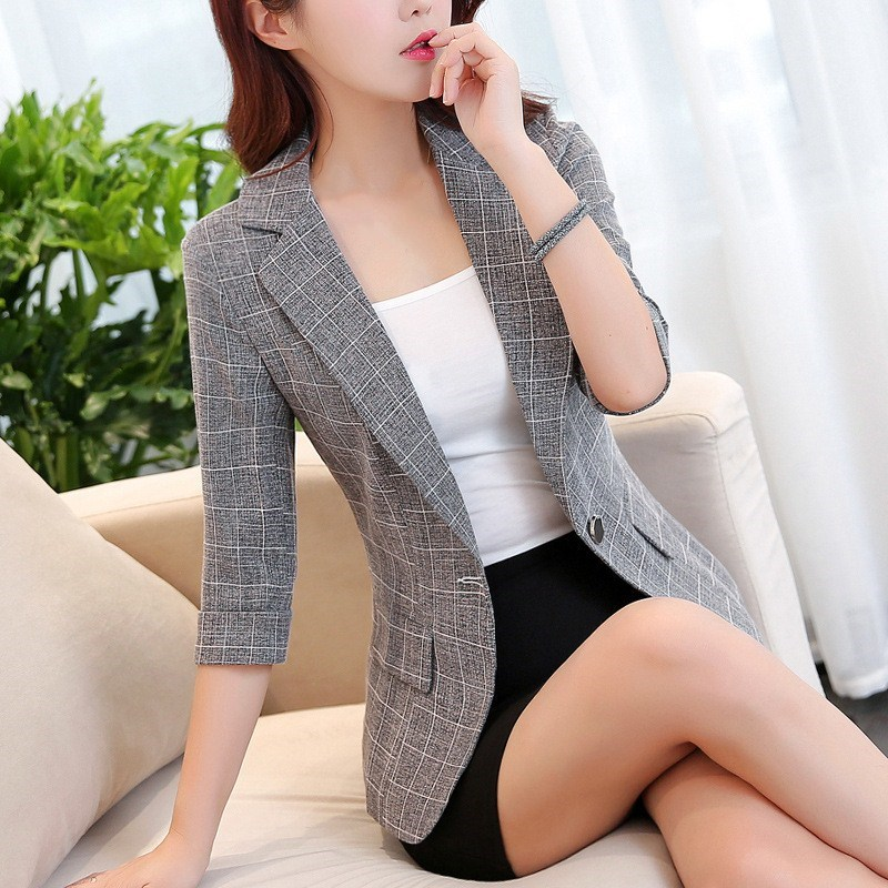 Fashion Women Office Lady Work Suit Autumn Three Quarter Sleeve OL Short Slim Blazer Casual Pockets Notched Collar Plaid Jackets