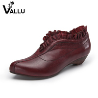Leather Shoes Woman Genuine Leather Women Pumps Pointed Toe Solid Handmade Vintage Ruffles Women S High