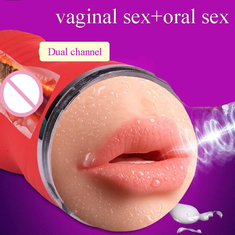Oral sex+ vagina sex male masturbation pocket pussy Dual channel masturbation cup blowjob fake vagina artificial sex toy for men