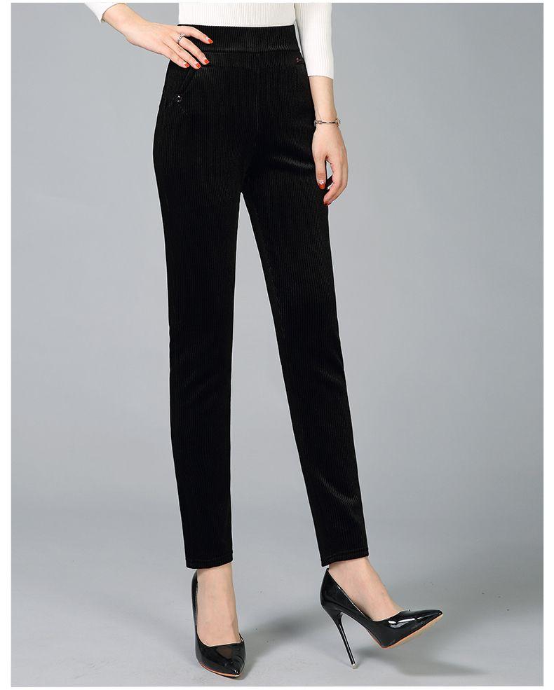 Women Elegant Striped Velvet Pants Slim Fit Corduroy Trousers Woman Red Green Black Blue Pant Bottoming Trouser Lady (21)