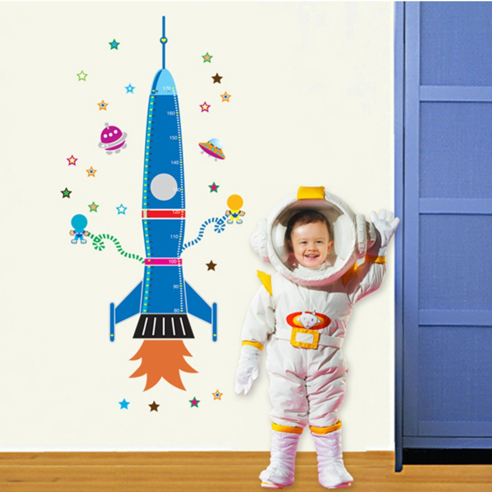 Decorating a large wall space - Kawaii Removable Wall Sticker For Kids Room Cartoon Decals Children Wall Paper Space Rocket Large Size