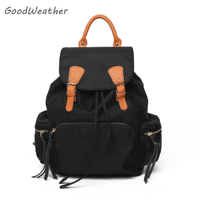 Small waterproof black nylon backpack with shortleather handle fashion  women travel backpacks light weight drawstring bag 5color dee12f89d5