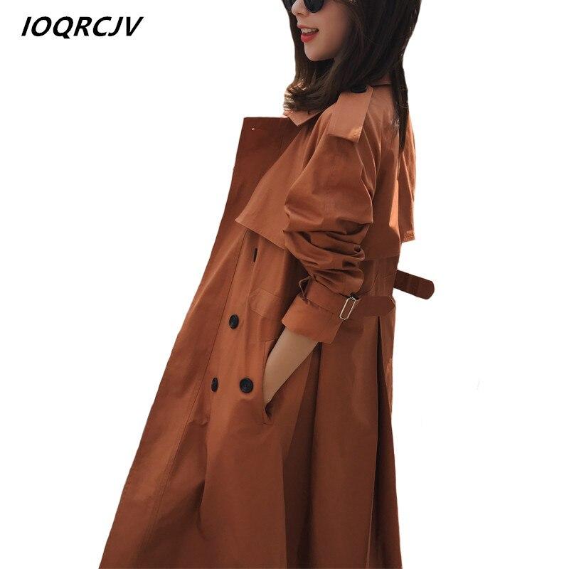 2018 Casual Women Autumn Fashion Double Breasted Mid-long   Trench   Coat Women Khaki Slim Belt Cloak Mujer Windbreaker Female S3