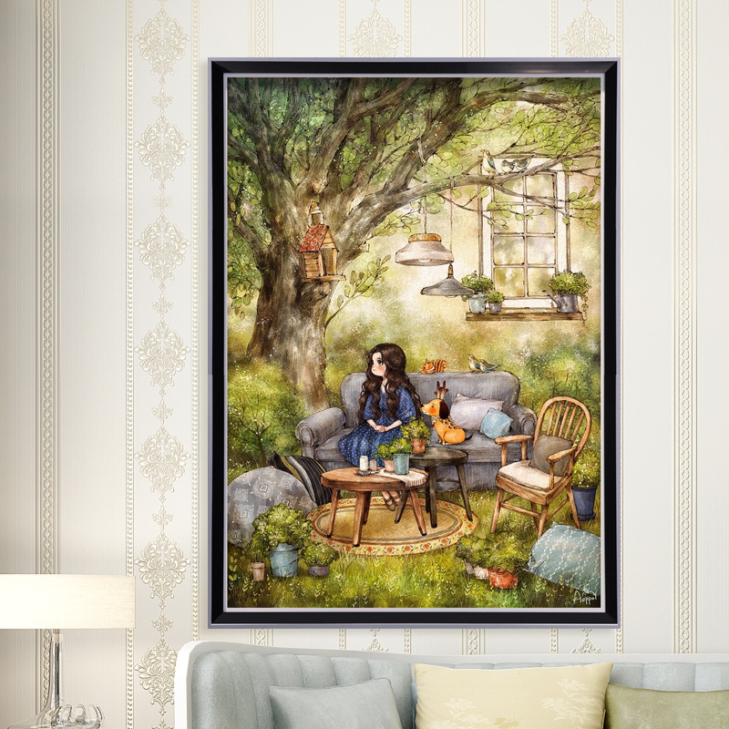 Garden Afternoon Cross Stitch Kit DMC Brand Thread Animal Dog Count Canvas Fabric Embroidery Handmade Needlework Craft