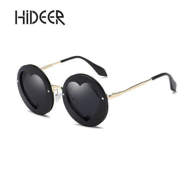 1a5f53d656 HiDEER Women Sunglasses Round Frame Sun Glasses 2018 New Black Pink Eyewear  Heart Shape Lens Cute Fashion Sunglasses AE-18KD018