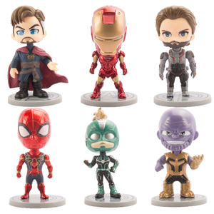 6pcsset Marvel Captain Avengers 4 Endgame Ironman Spiderman Thanos Infinity Gauntlet Load Car PVC Action Figure Model Toy Doll