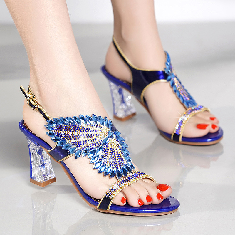 New Women Sandals Gladiator 2019 Summer Crystal Heels 7.5CM Rhinestone Summer Female Wedding Shoes Square Heel Office Work Shoes