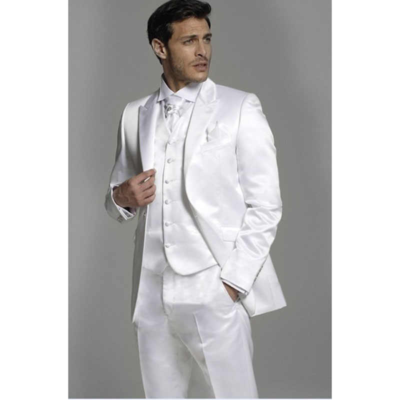 Brand New Mens Suits Bruidsjonkers Peak Revers Bruidegom Tuxedos Shiny White Wedding Best Men Suit (Jas + Broek + vest)