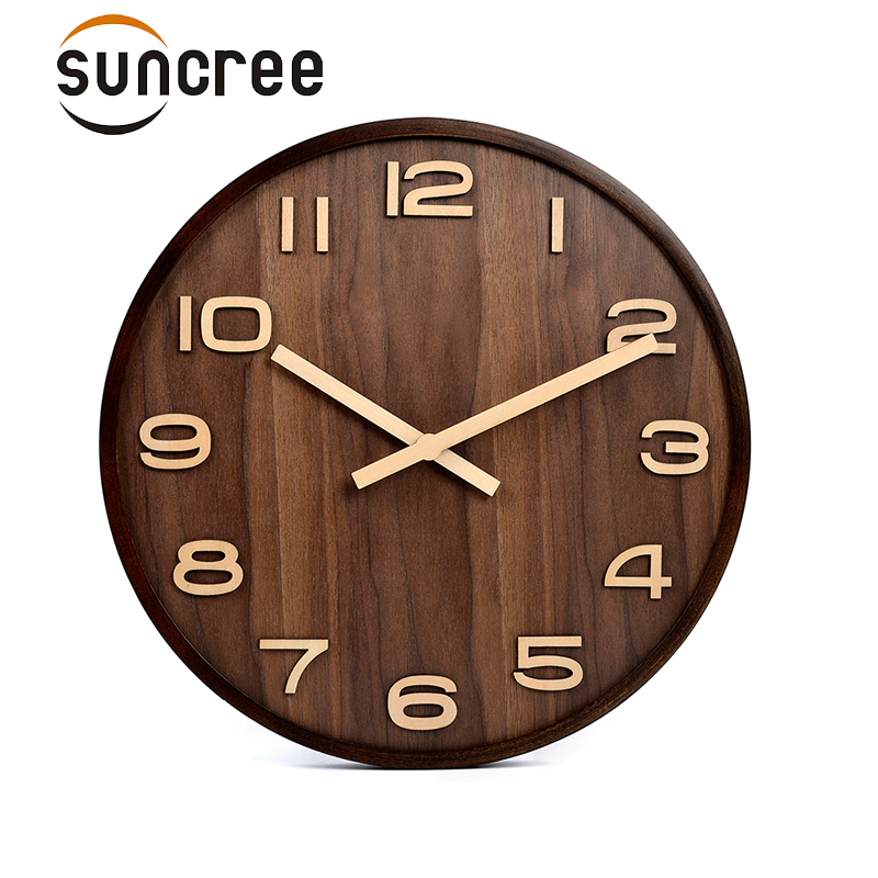 2018 offre spéciale grande horloge murale Design moderne Imitation bois suspendus Vintage silencieux horloge murale décor montre mur bois décor à la maison