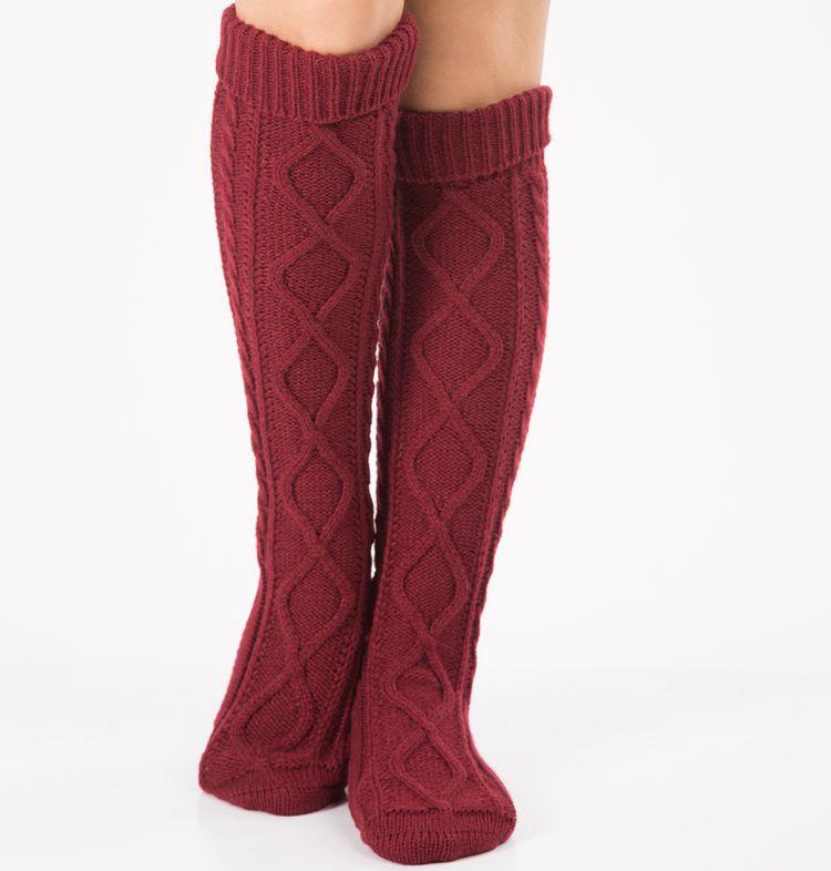 Dicken Bein Wärmer Frauen Stiefel Zubehör Gestrickte Argyle Muster Lange Socken Über Knie Höhe Warme 7 farben Häkeln Drop Verschiffen