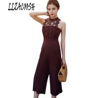 2018 Women Lace Patchwork Jumpsuits Sleeveless Rompers Ladies Summer Tall Waist Womens Jumpsuit
