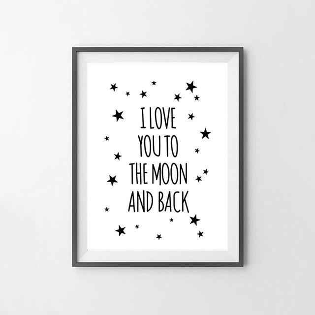 קנו עיצוב הבית   I Love You To The Moon And Back Quote Canvas Star ...