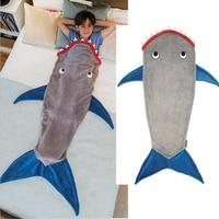 Hot Sale Shark Mermaid Tail Blanket Air Sofa Throw Rugs Fleece Travel Sleeper Stroller Children Sleeping Bag Girls/Boys Blankets