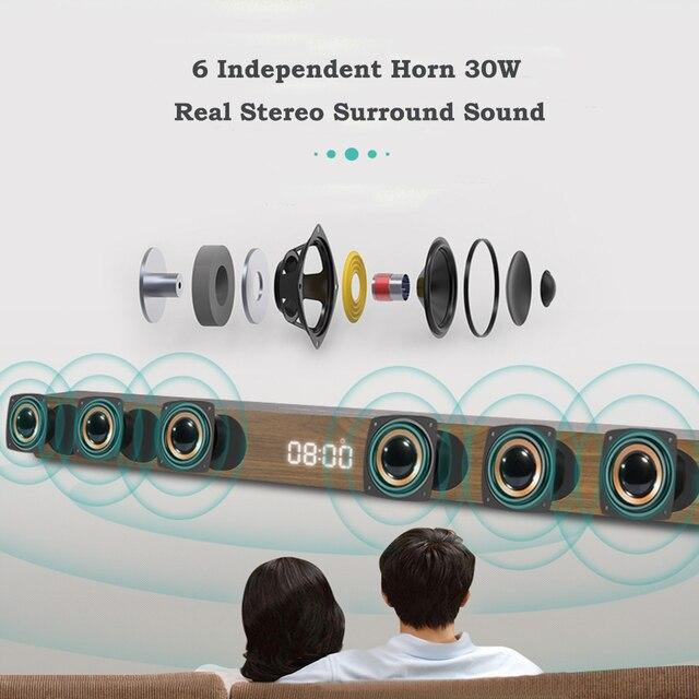 Wireless TV Soundbar Bluetooth Speaker 30W Sound Bar Hifi Stereo Sound Wooden Sound Bar with RCA AUX HDMI For TV Home Theater 1