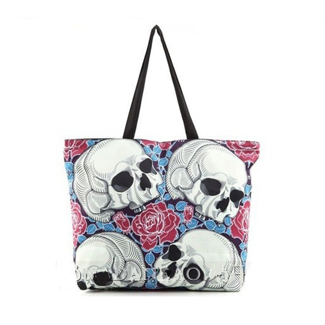 Lotec Women Retro Skull Printed Canvas Ping Shoulder Bag Handbag Beach Travel Oversized Tote