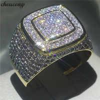 Choucong anillo de HIP HOP de lujo pavé configuración 274 Uds 5A zircon cz oro amarillo lleno 925 Anillos de Compromiso de plata para hombres