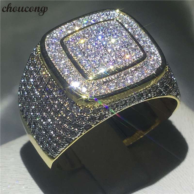 choucong Luxury HIP HOP Ring Pave setting 274pcs 5A zircon cz Yellow Gold Filled 925 Silver Engagement Wedding rings For menchoucong Luxury HIP HOP Ring Pave setting 274pcs 5A zircon cz Yellow Gold Filled 925 Silver Engagement Wedding rings For men