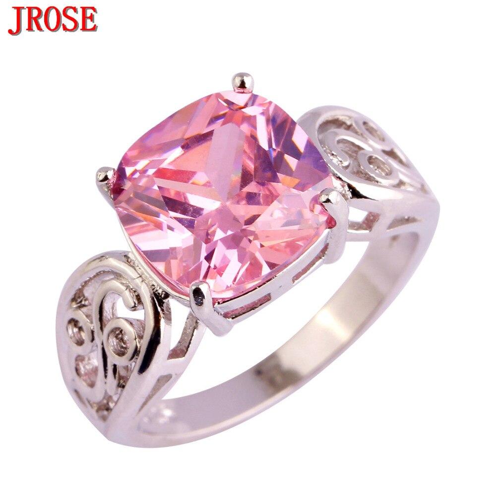 Jrose Wholesale Gorgeous Fashion Princess Cut Pink Cz Silver Color Ring  Size 6 7 8 9