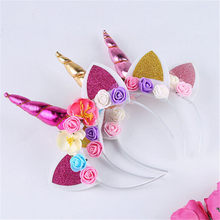 Chifre de Unicórnio mágico Cabeça Floral Headbands do Bebê do Vestido Extravagante Do Partido Do Miúdo Presentes Decorativos Hallowen Cosplay Xmas Decor Headwear(China)