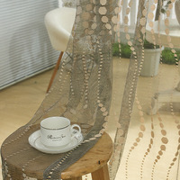 Brown Beige Net Curtains Leaves Pattern Curtains Burn Out Window Treatment For Living Room Bedroom Balcony