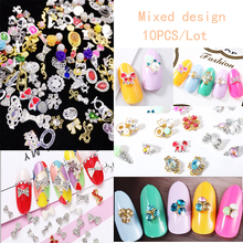 10pc/bag Glitter Bow Knot & Flower 3D Nail Art Alloy with Rhinestone, Mix Design Nail Charms Jewelry for Nail Gel/Polish Tools 10pc glitter colorful flower 3d nail art decorations with rhinestones alloy nail charms jewelry for nail gel polish tools tn975