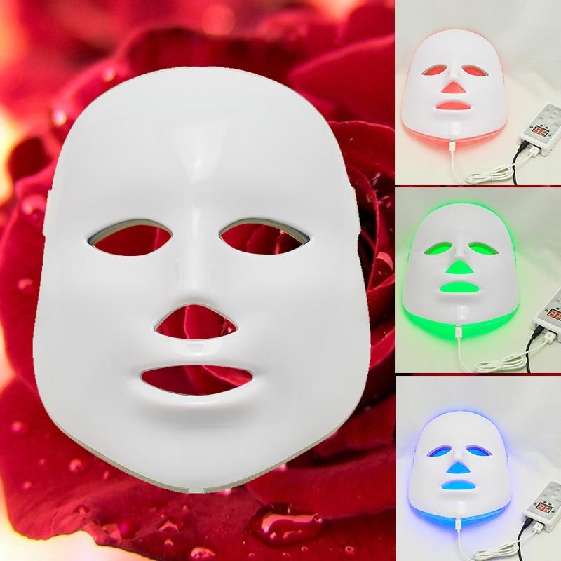 3 Colors Light Photon LED Facial Mask Skin Rejuvenation Beauty Therapy Beauty Instrument LED Facial Mask 7color led mask photon light skin rejuvenation therapy facial mask ice roller stainless steel blackhead needle bend curved
