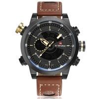 NAVIFORCE Luxury Brand Leather Watches Men Sport Led Quartz Watch Man 3ATM Waterproof Clock Men S