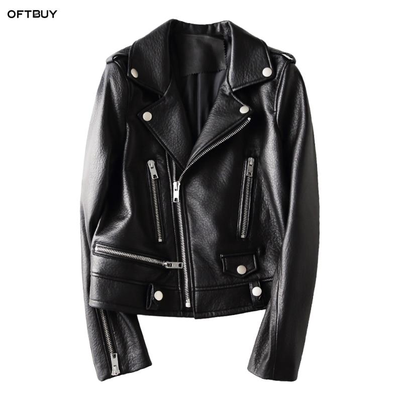 OFTBUY 2019 spring autumn genuine leather jacket women real sheepskin leather black short coat Motorcycle bomber