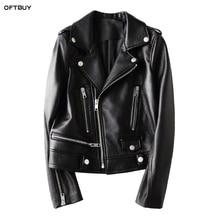 OFTBUY 2019 spring autumn genuine leather jacket women real