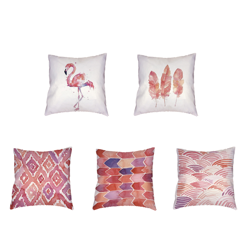 Pink Flamingo Printing White Cushion Cover Geometric Polyester Peach Skin Material Office Home Sofa Chair Decoration Pillowcase