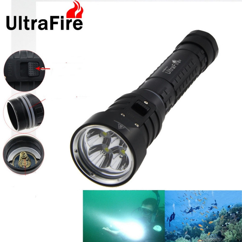 LED buceo linterna antorcha brillo impermeable 100 M luz blanca LED antorcha Diving Flashlight 18650/26650 battery Not Included