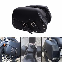 Black Leather Rivet Motorcycle Universal Saddle Bags Rider Motorbike Panniers Luggage For Harley Yamaha Honda C