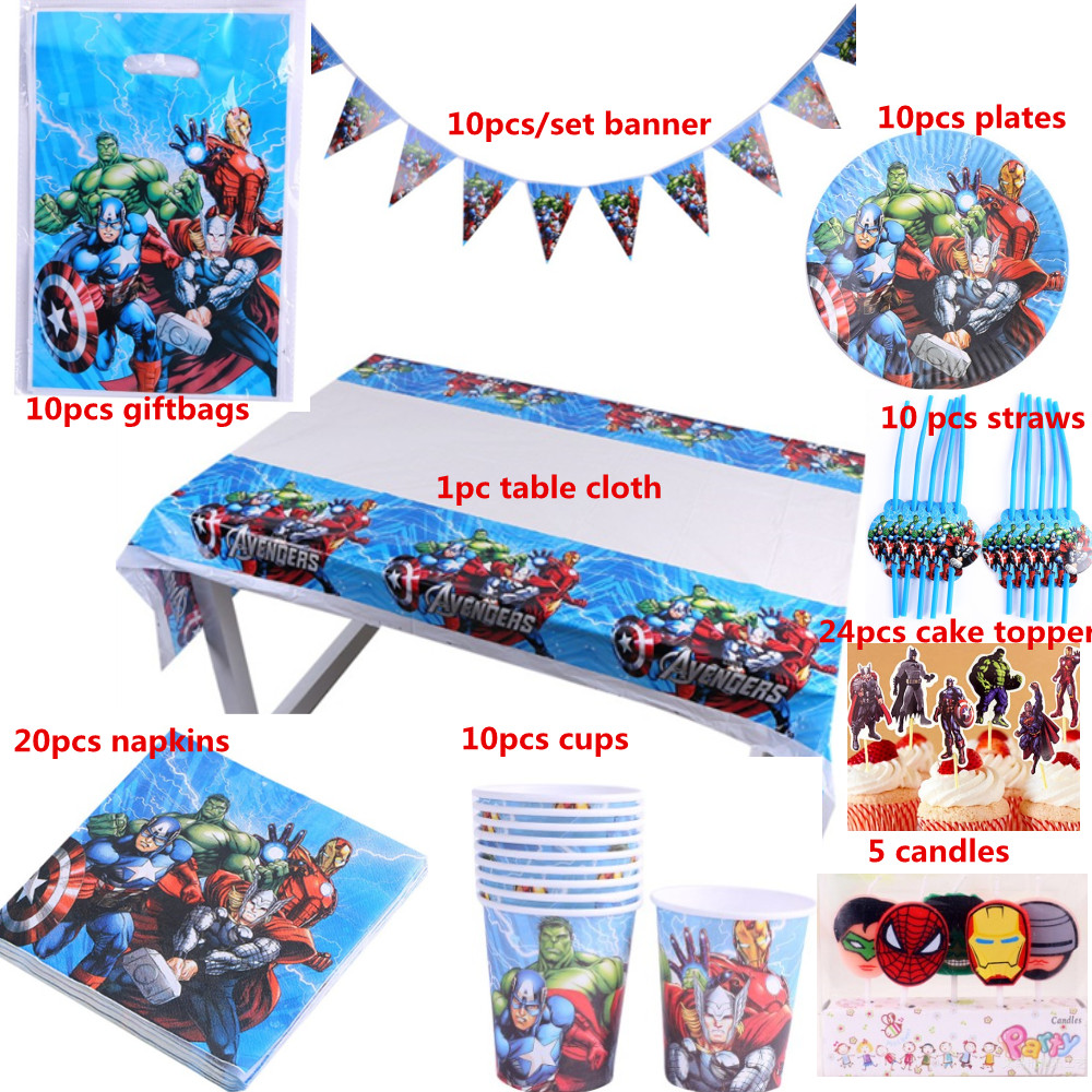 Free shipping 100pcs luxury happy birthday kidsThe Avengers party shower  decoration tableware sets suppliers wholesale-in Party DIY Decorations from