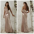 Honey Qiao Bridesmaid Dresses Rose Gold Sequins Cheap Mermaid Spaghetti Straps 2017 Champagne Burgundy Maid of Honor Gowns