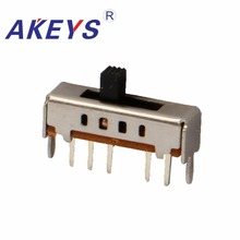 30PCS SS-14D02 Single pole four throw 4 position needle spacing 2.0mm slide switch 5 pin verticle type with 2 fixed pin 5 cm single joint slide fader potentiometer b5k b50k b100k