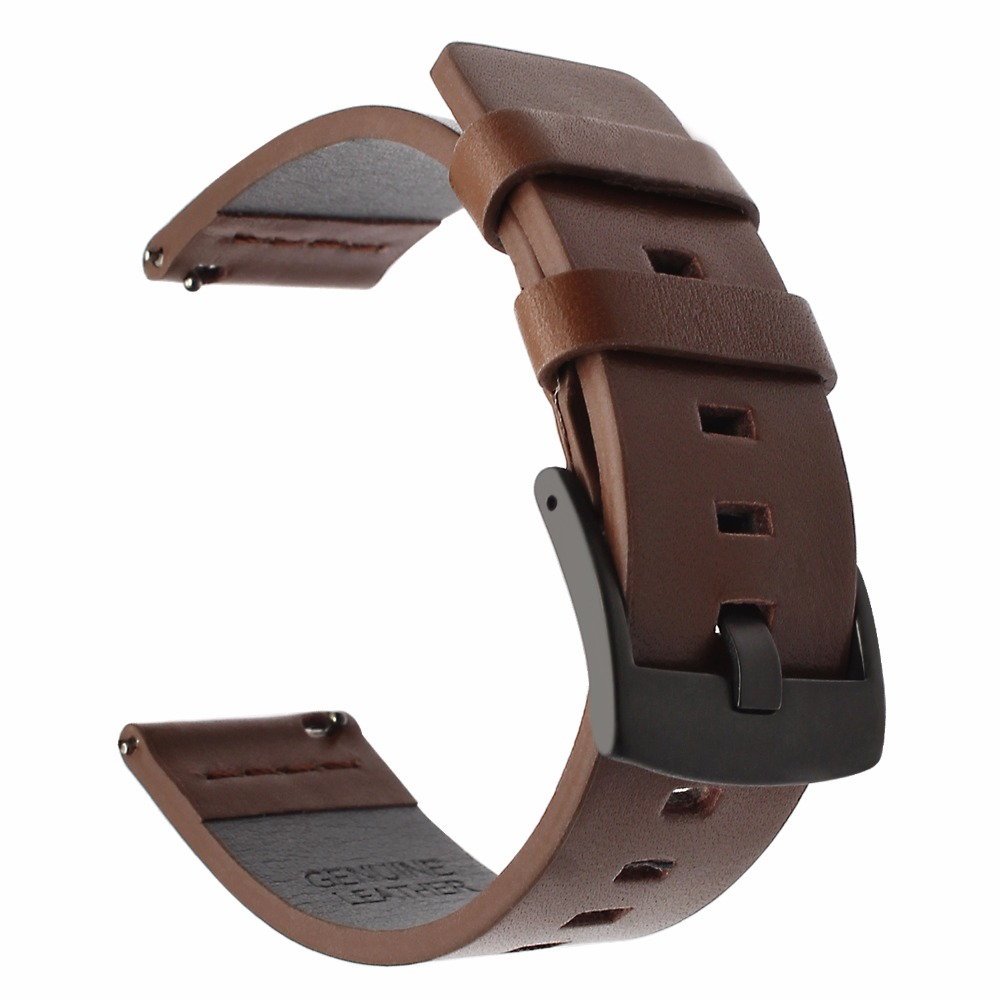 20 22 24mm Genuine Leather Watchband For Samsung Galaxy Active Watch Gear S3 Gear Sport Moto360 Watch Band Strap Steel Bracelet