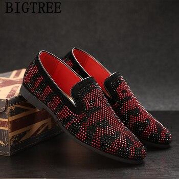 italian shoes men classic coiffeur wedding shoes men elegant loafers men brand shoes rhinestone sepatu slip on pria ayakkabi 1